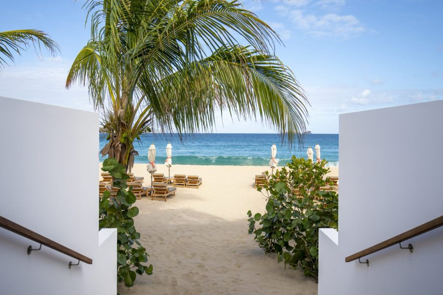Stairway to the sandy Flamands beach at hotel Cheval Blanc in St Barts