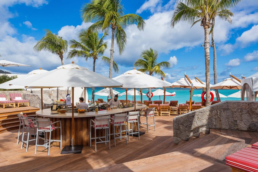 Circular beach bar with views of the Caribbean sea at Eden Rock St Barts