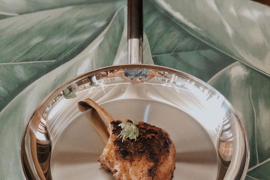 Côte de veau served in a pan at François Plantation restaurant St Barts